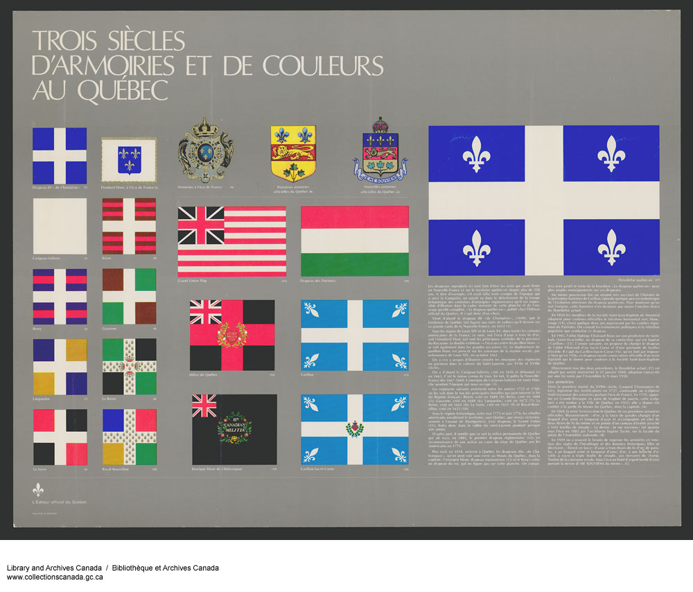 Poster showing the coats of arms and designs that influenced the design of Quebec's flag