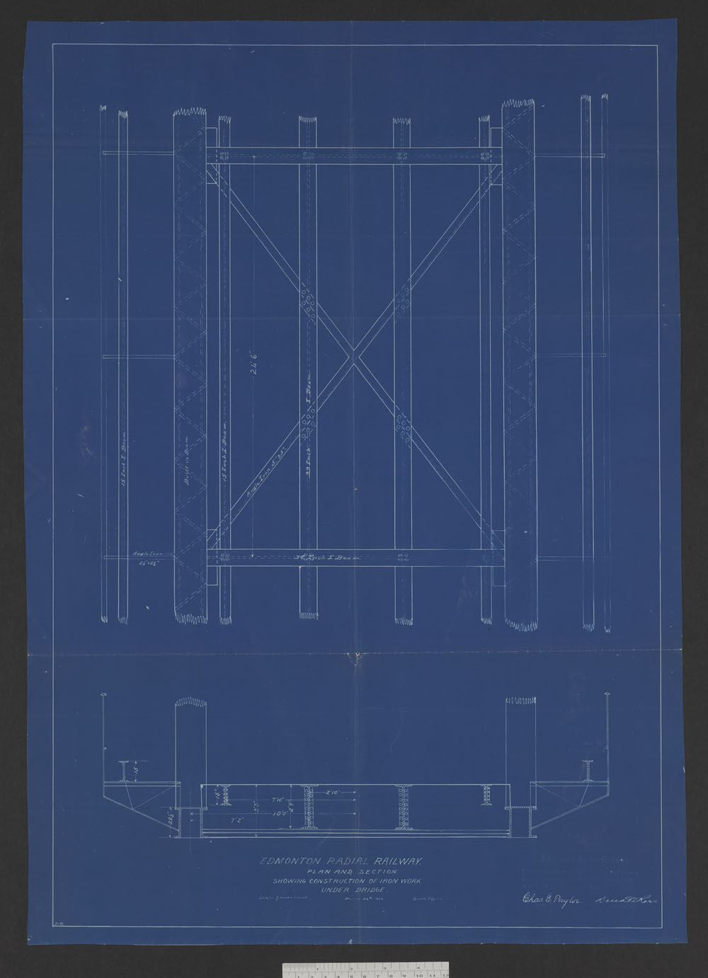 Edmonton Radial Railway - Plan and section showing construction of iron works under bridge. (item 9)