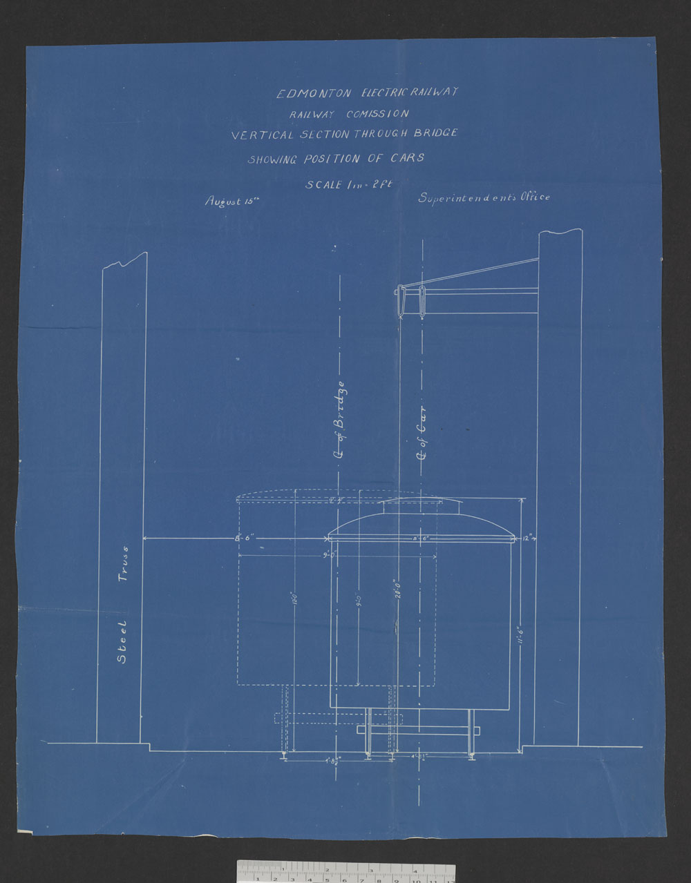 Edmonton Electric Railway - Railway Commission - Vertical section through bridge showing position of cars. (item 11)