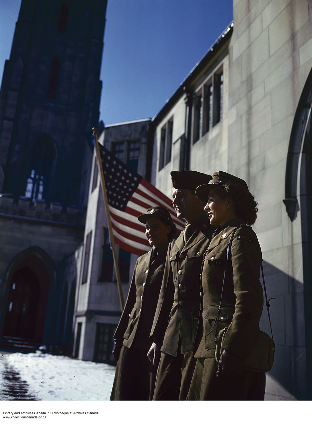 Two CWAC and a U.S. Sgt. leave church in Washington, D.C. (item 1)