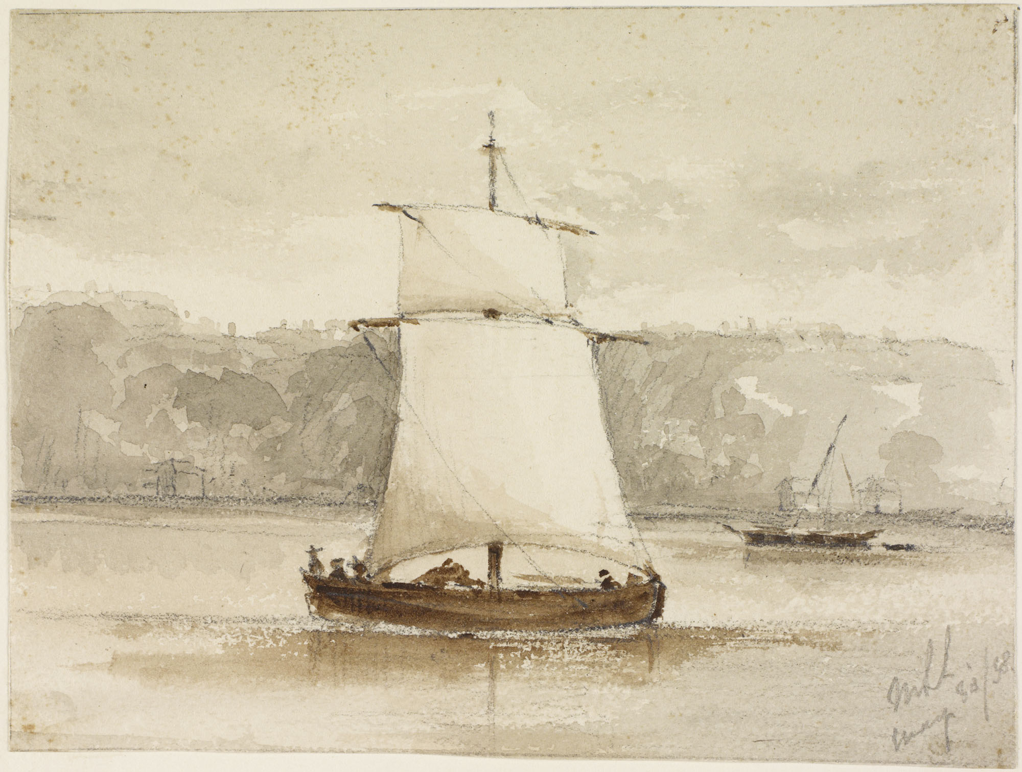 [Single-Masted Boat with Two Sails] (item 1)