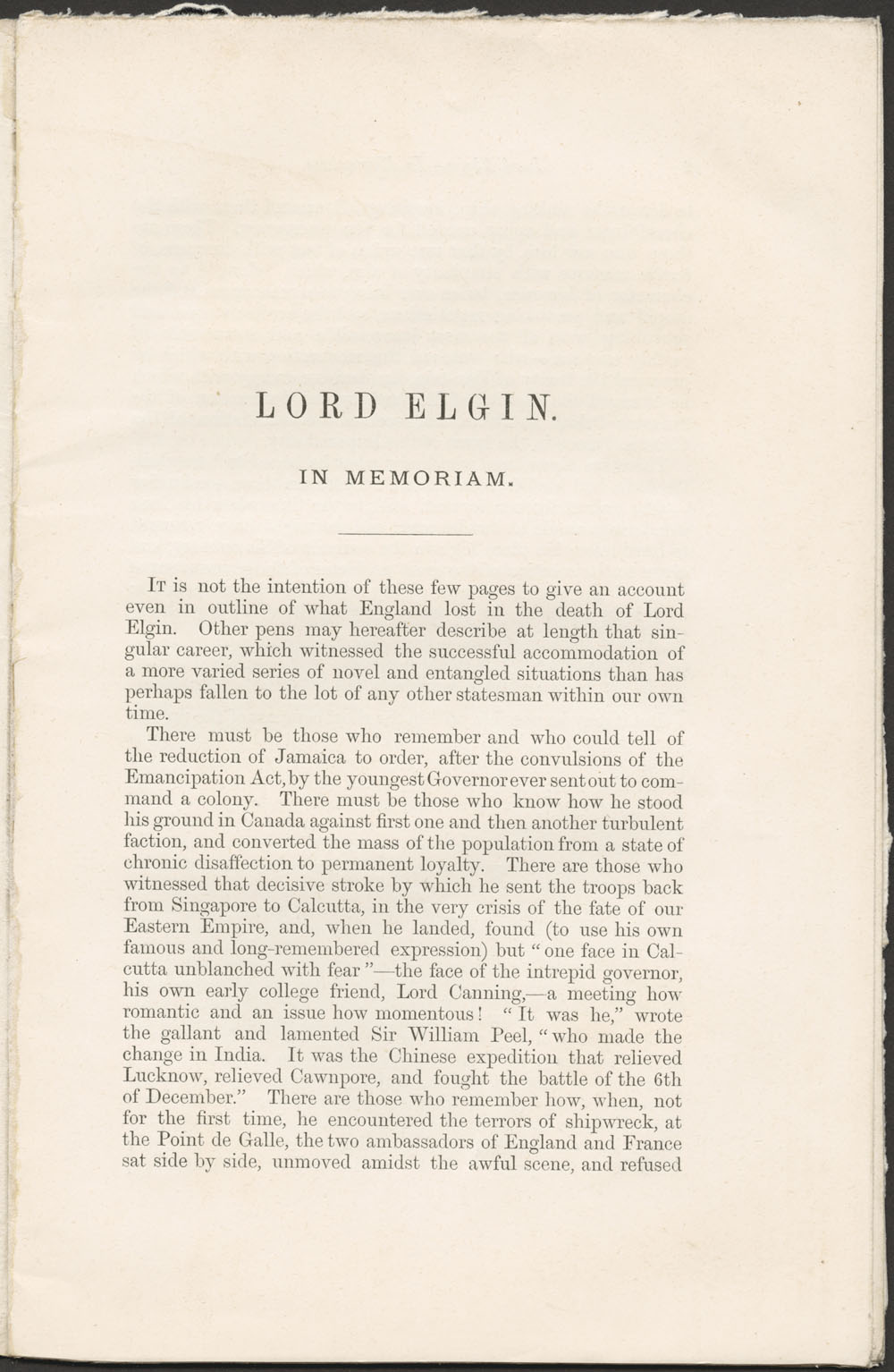 """In Memoriam"" of Lord Elgin  (item 2)"