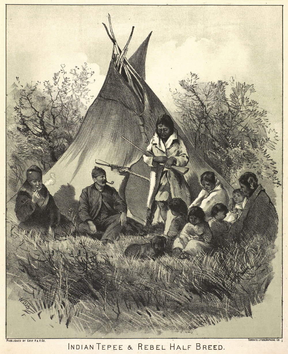 Black and white lithograph print depicting two Métis men sitting on the ground in front of a teepee while a woman stands with a rifle cradled in her arms. A family of six and a dog sit on the ground on the right side of the composition.