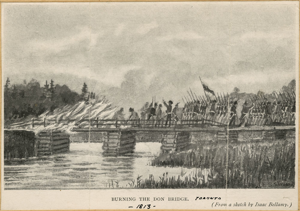 sketch : Burning the Don Bridge, 1813