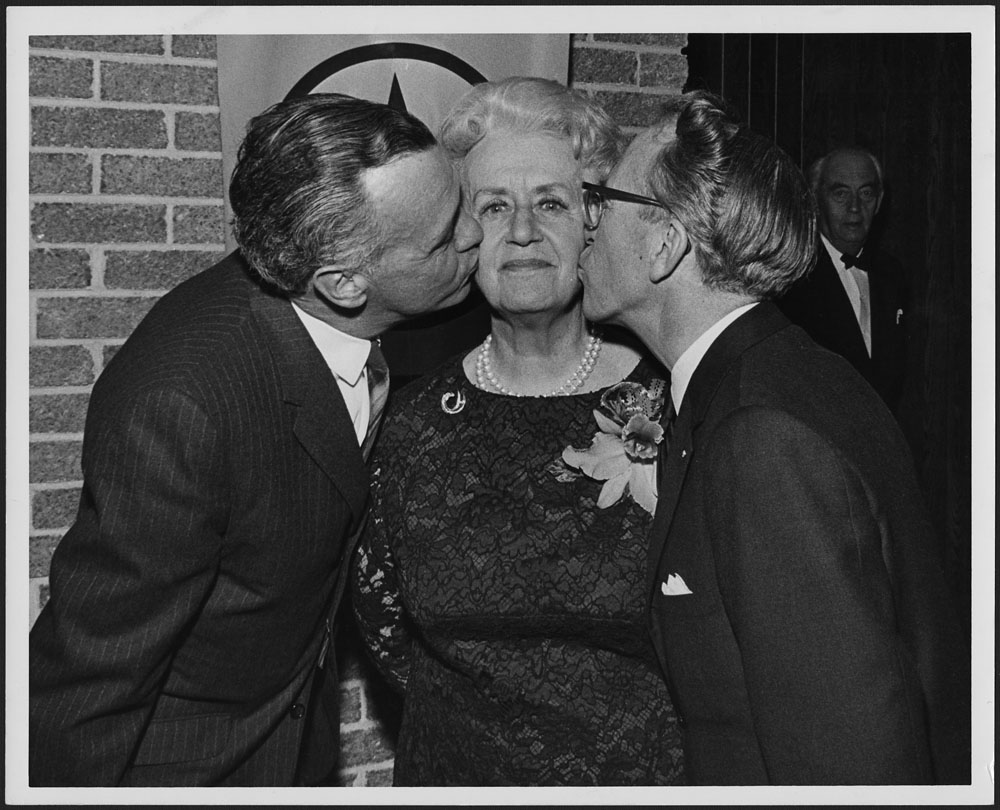 MIKAN 4169958 Marie-Thérèse Casgrain with Tommy Douglas, leader of the Federal NDP, and Robert Cliche, leader of the NDP of Quebec, during a banquet