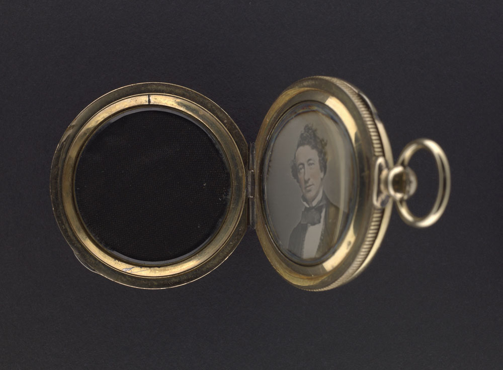 Daguerreotype of John A. MacDonald contained in a gold locket. (item 3)