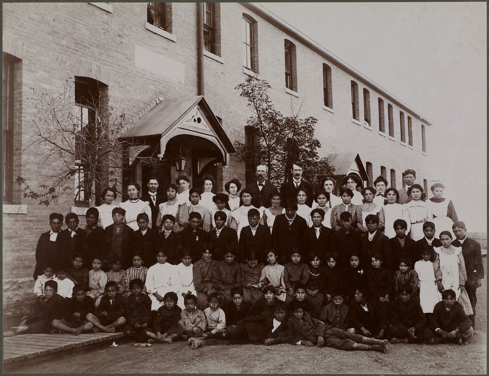 Regina Indian Residential School,  students and school personnel, 1908
