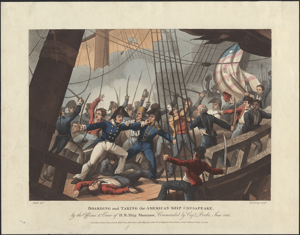 Print of the boarding and capture of the American ship Chesapeake, 1813