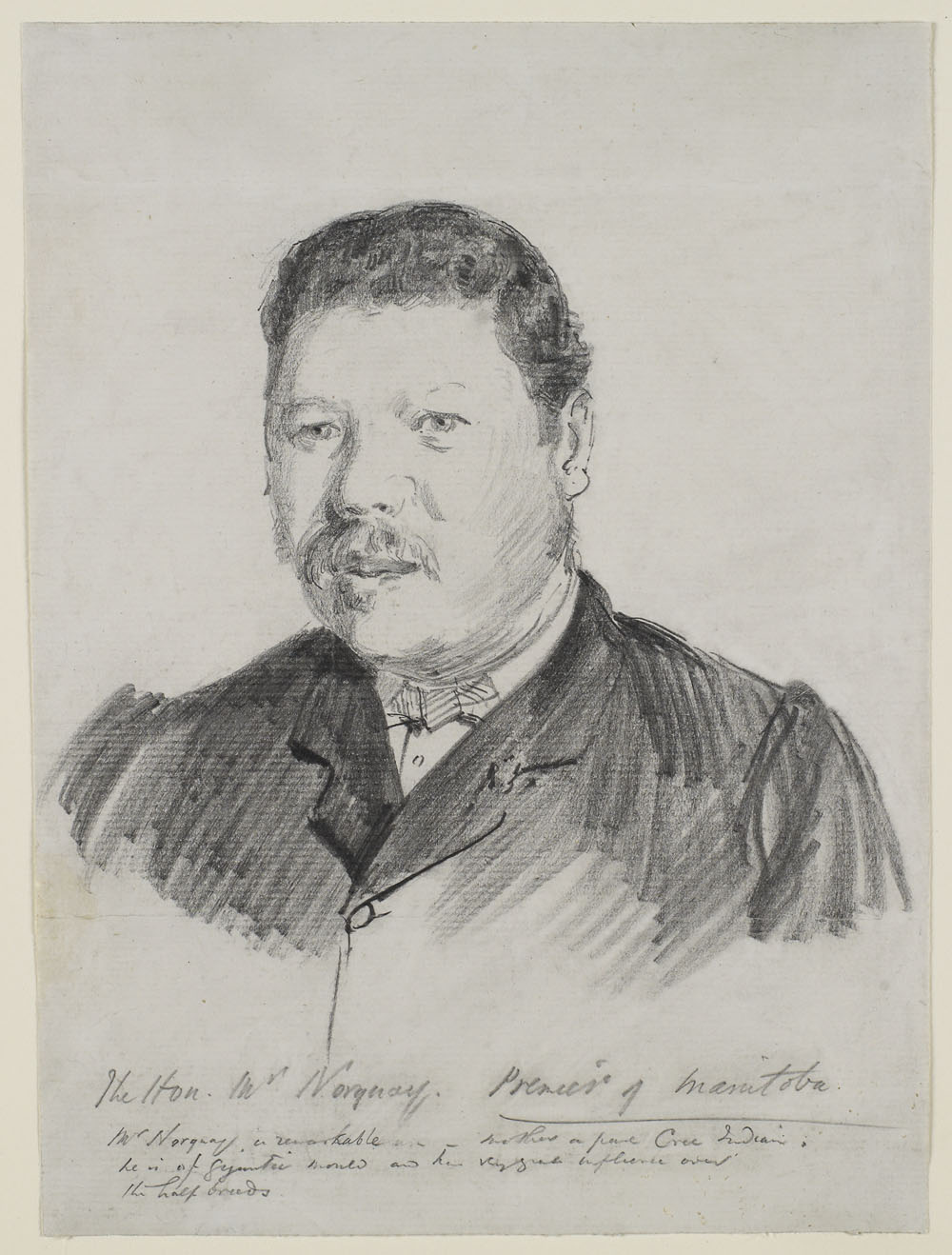 Black and white pencil sketch portrait of the head and shoulders of a man wearing a dark coloured, collared jacket.
