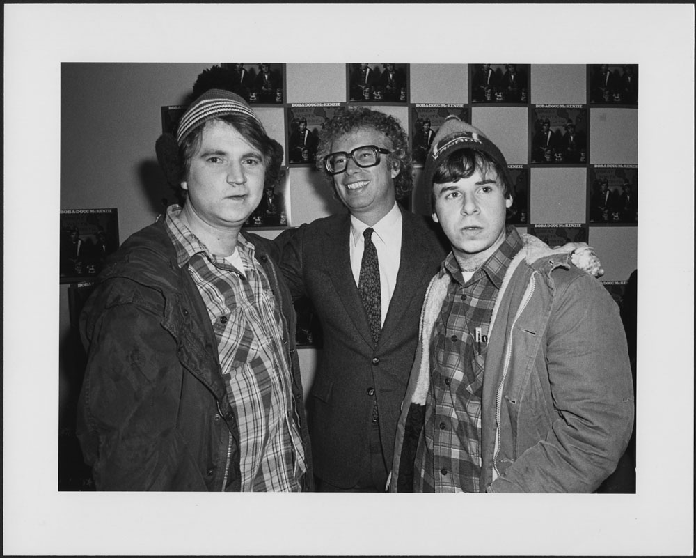Rick Moranis and Dave Thomas at their press reception for