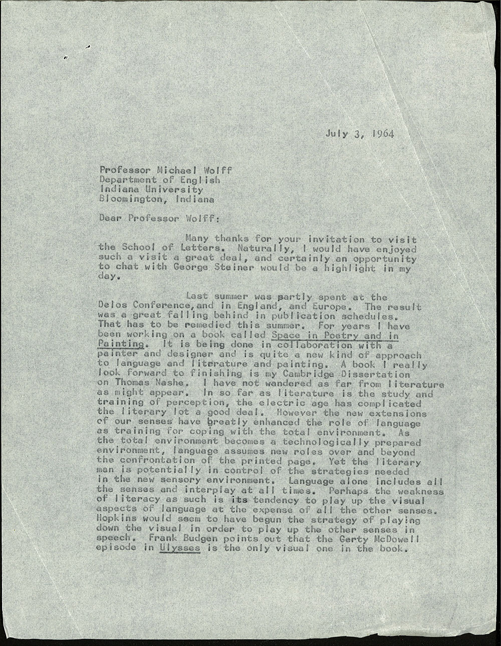 Letter dated July 3, 1964 to Michael Wolff (page 1)
