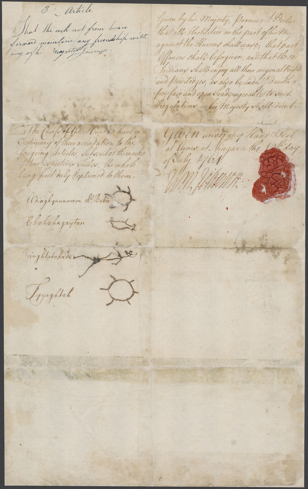 Treaty of peace and friendship between Sir William Johnson and the Hurons of the Detroit [textual record]. (item 5)