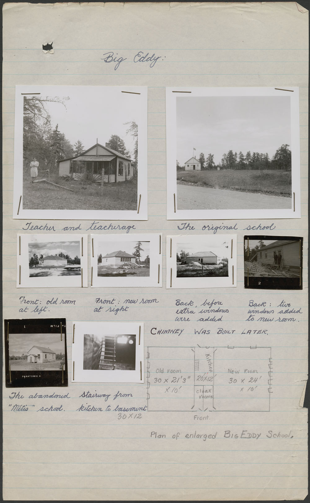 Big Eddy Indian Day School, photos of the teacher and the teacher's residence, with handwritten notes, The Pas, ca. summer 1947