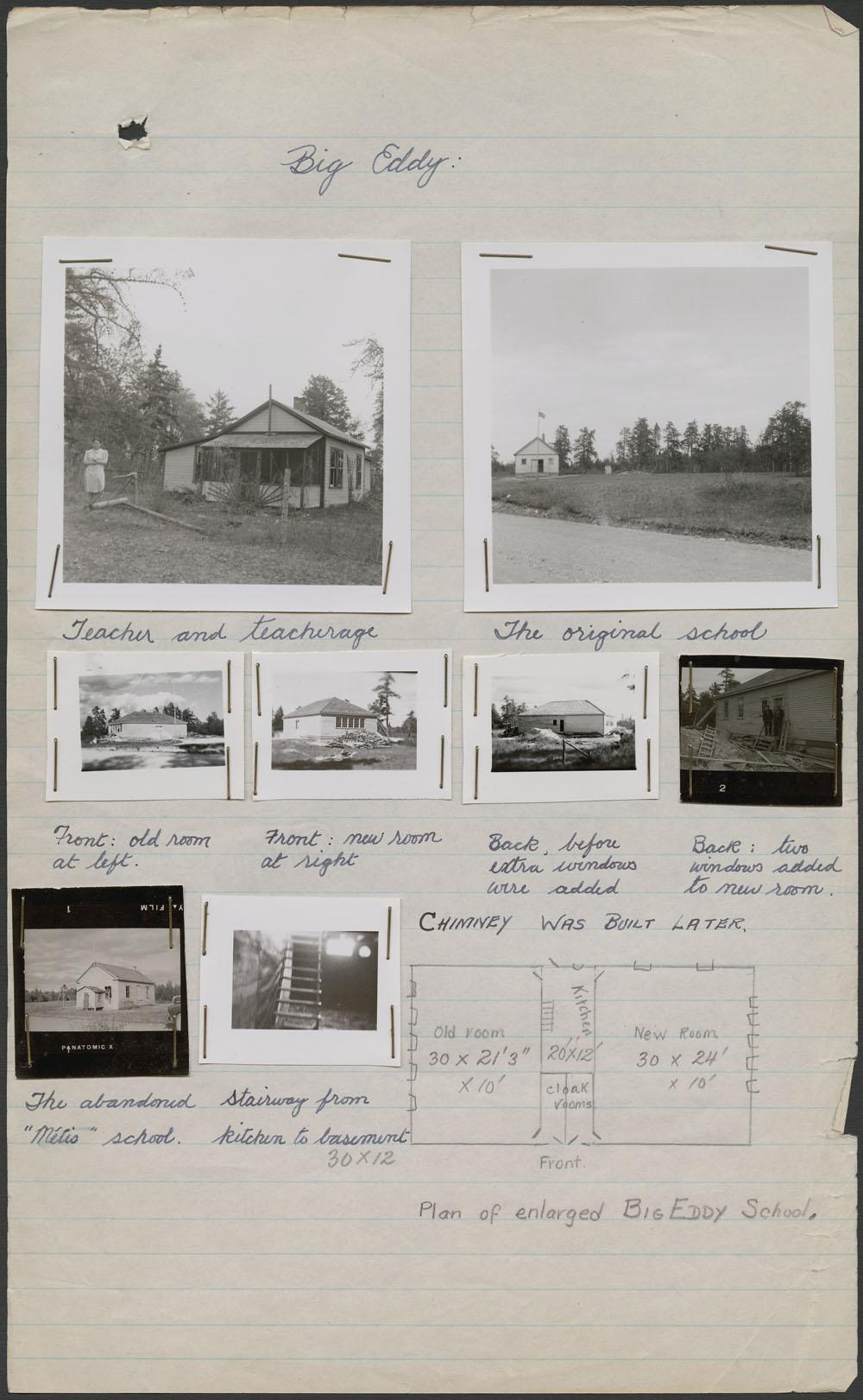 Externat indien Big Eddy, photos de l'école, de l'enseignante et de la résidence des enseignants, avec notes manuscrites, Le Pas, vers l'été1947