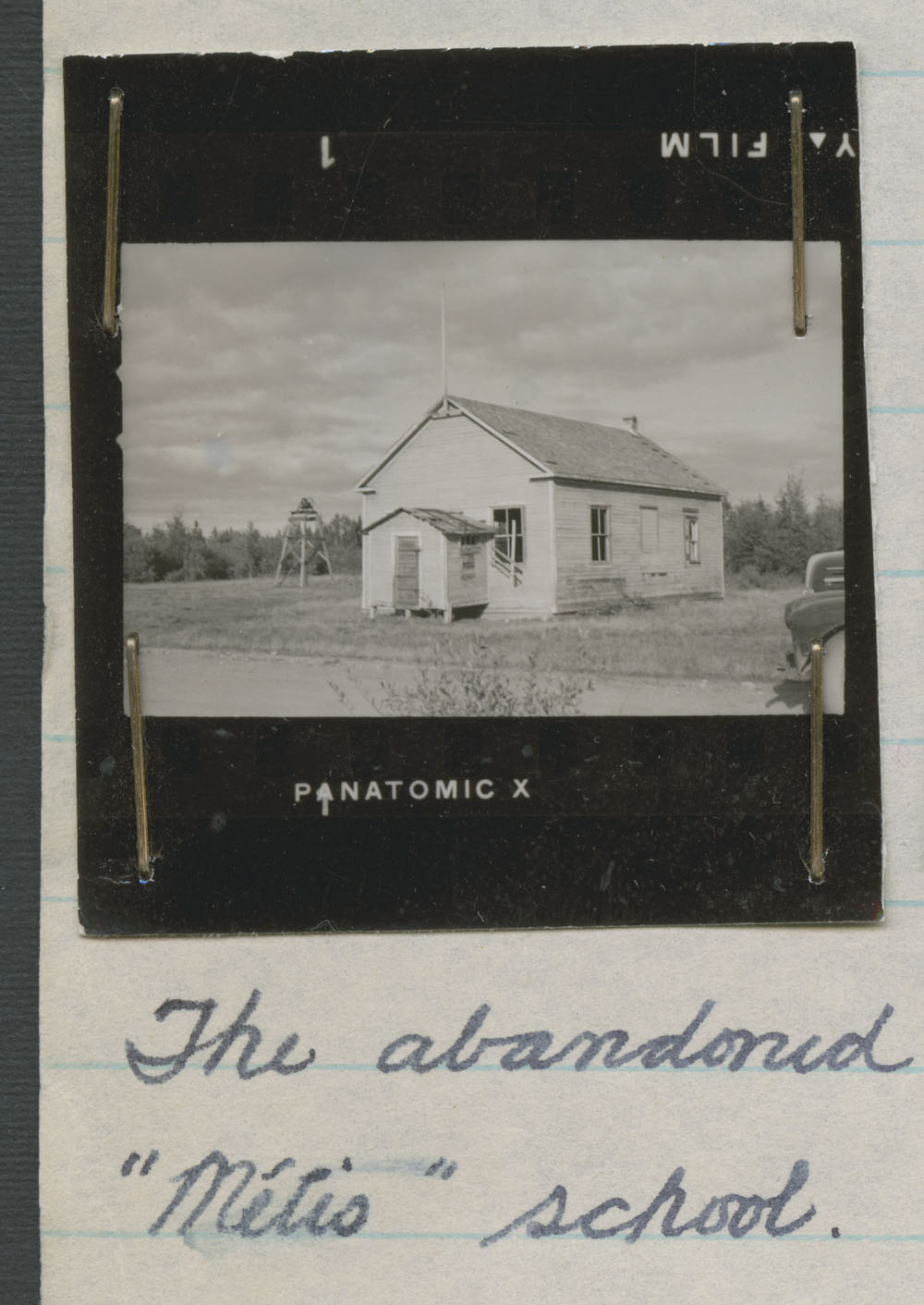 Métis school, contact print of the abandoned building, The Pas, ca. summer 1947