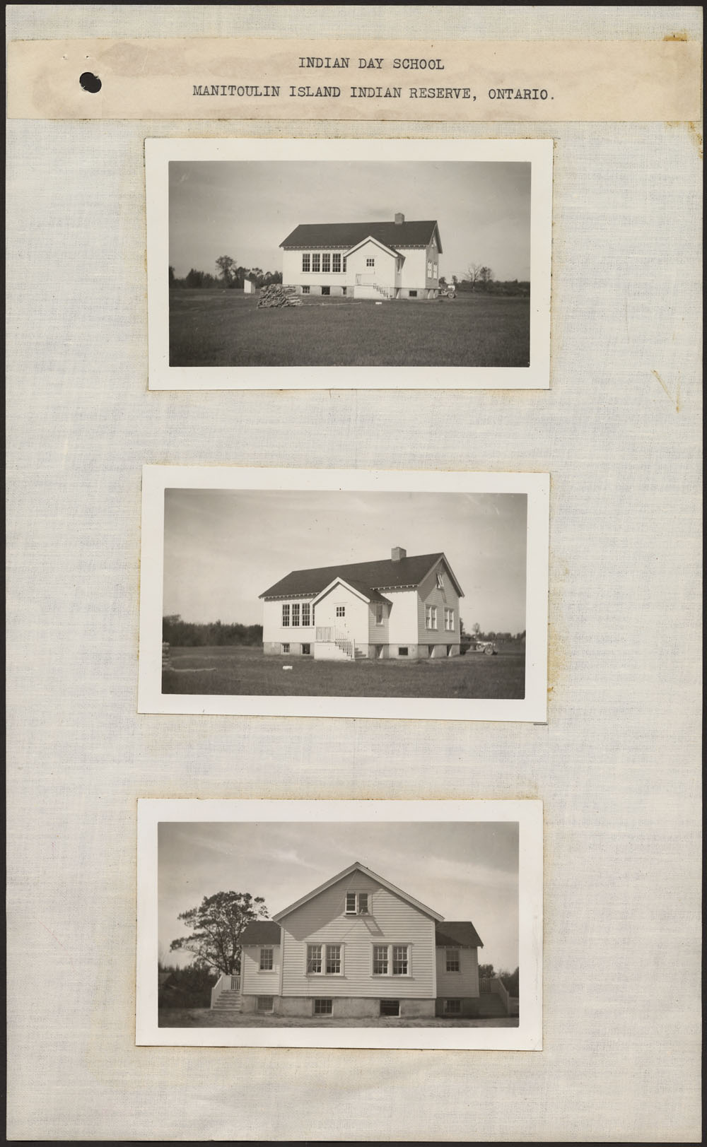 Indian Day School, three views of the school exterior, Manitoulin Island Indian Reserve, ca. summer 1938