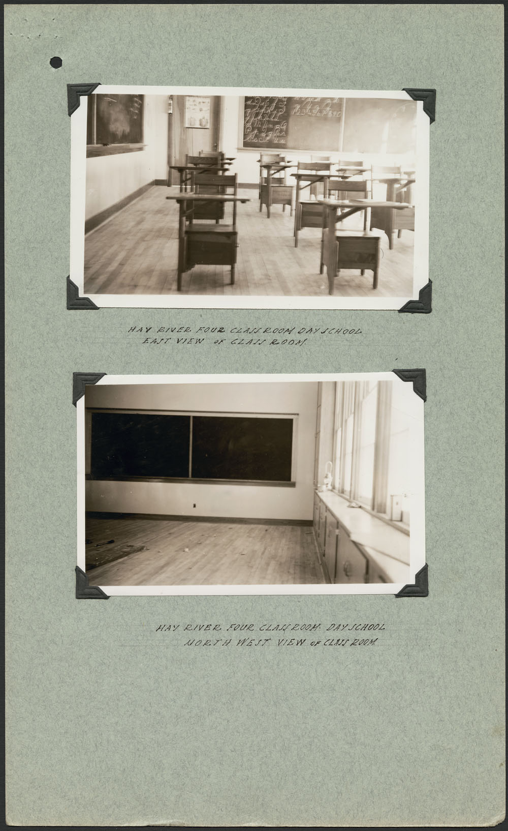 [Hay River] Federal Indian Day School, interior views of two classrooms, 1949