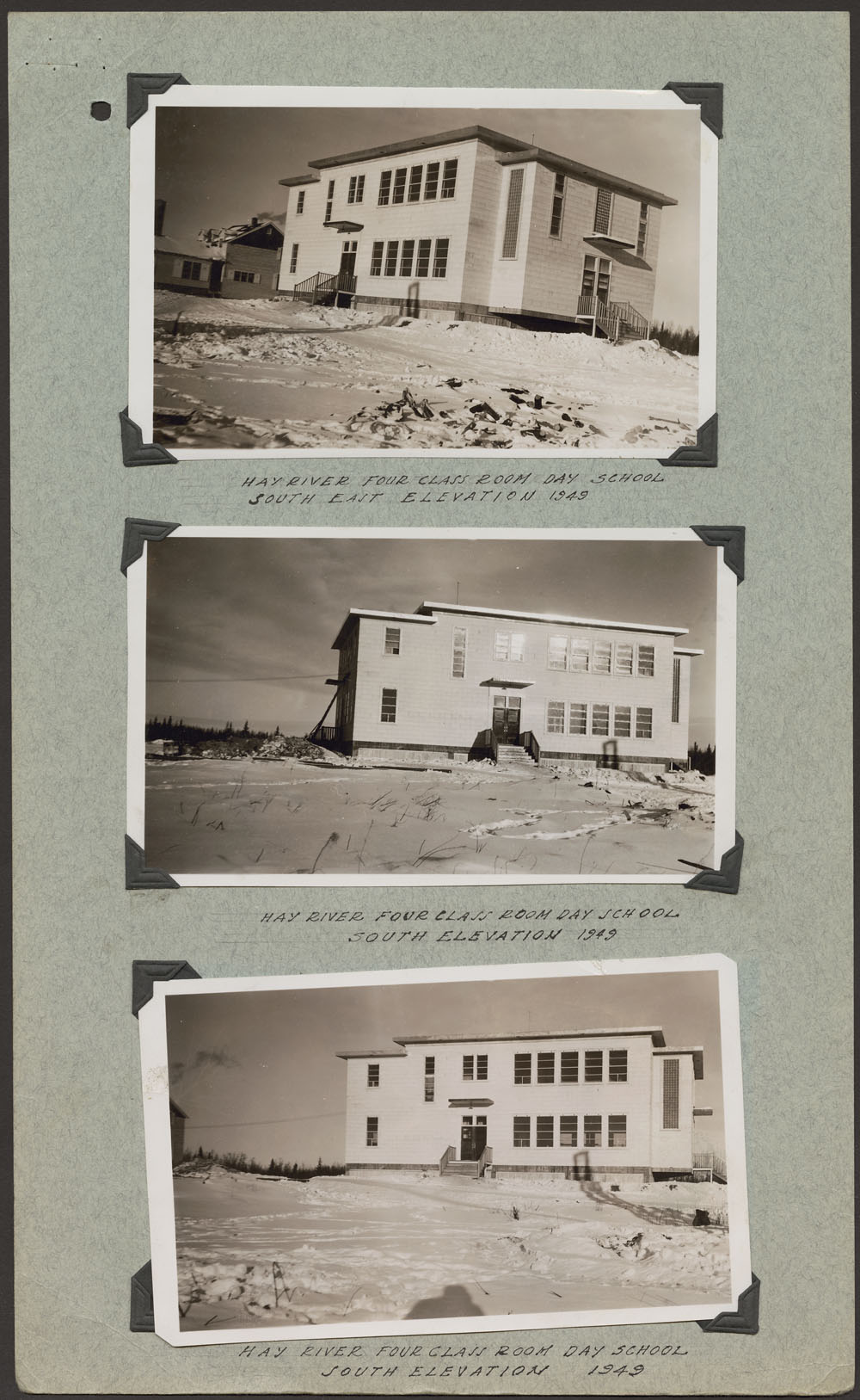 [Hay River] Federal Indian Day School, three views of the south elevation, 1949