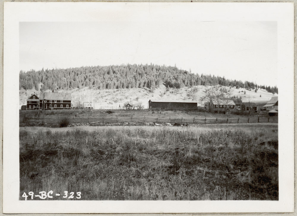 Cariboo Indian Residential School, distant view of school buildings and grounds, Williams Lake, 1949