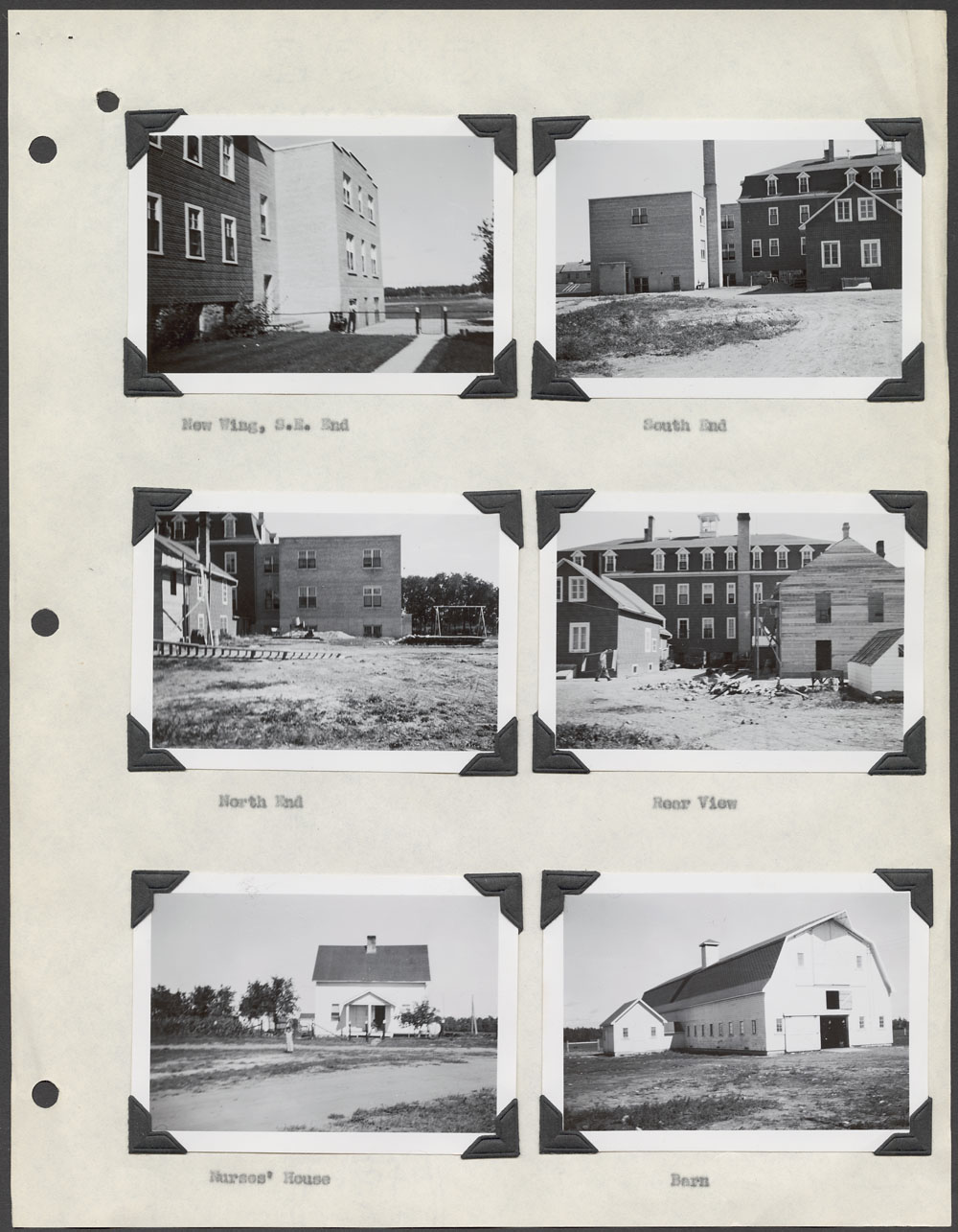 Sandy Bay Indian Residential School, views of the school, the nurses' residence and the barn, Marius, ca. 1948