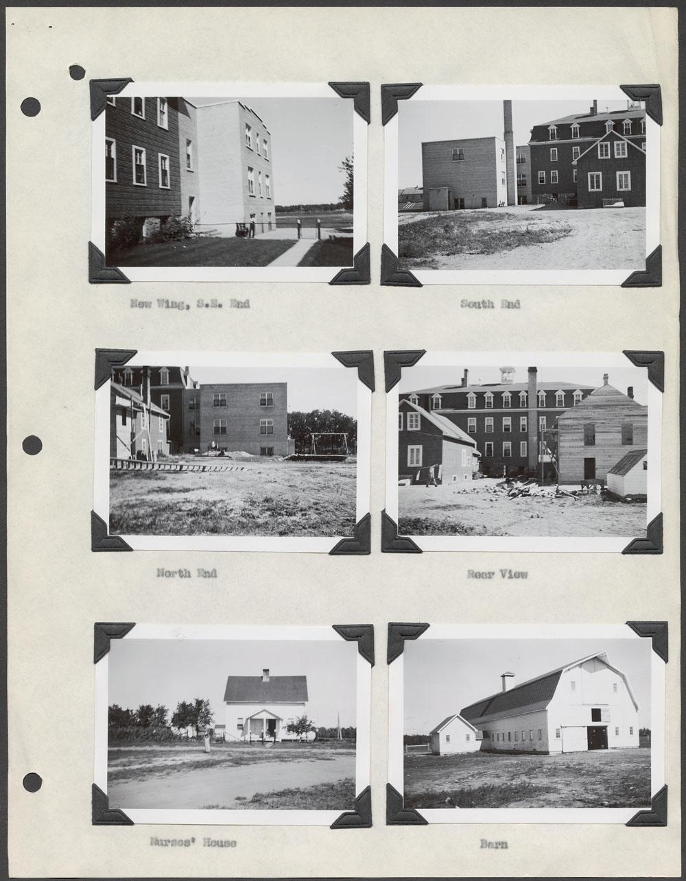 Pensionnat indien de Sandy Bay, différentes vues de l'école, résidence des infirmières et grange, Marius, vers 1948