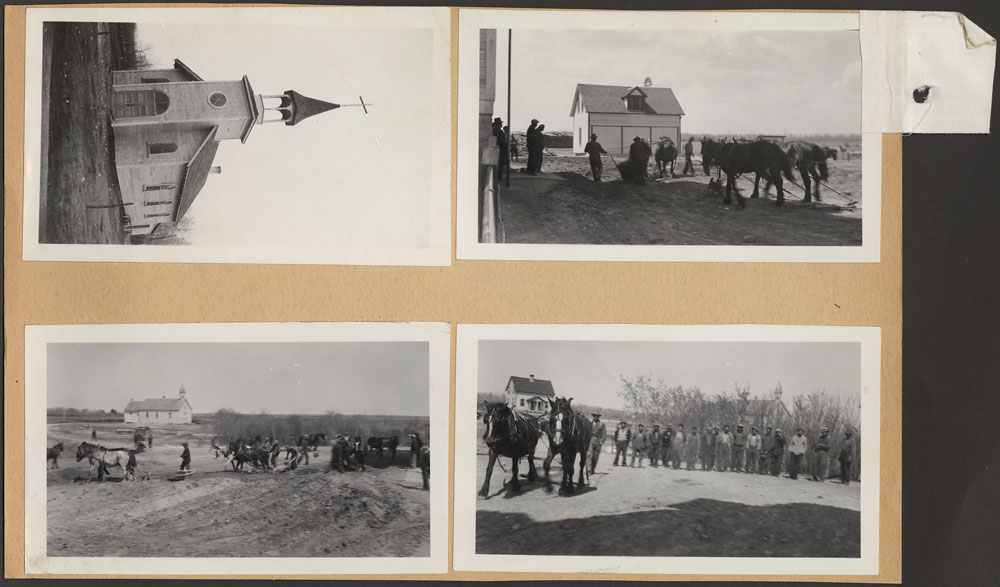 Sandy Bay Indian Residential School, views of the church and men working with teams of horses, Marius, ca. 1939