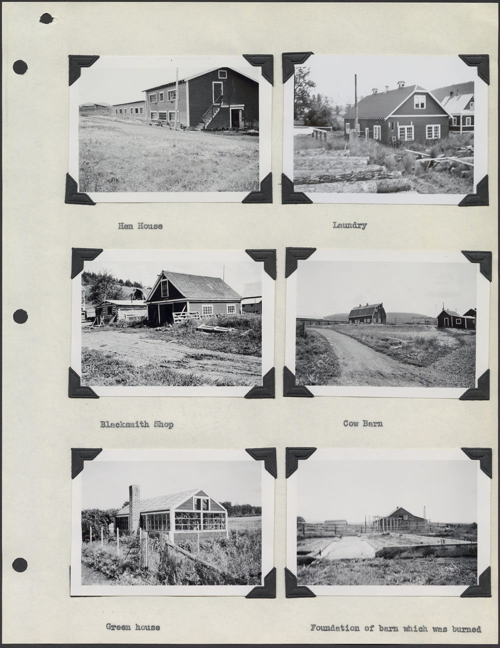 Lejac Indian Residential School, page with six photographs of various buildings, Fraser Lake, August 1941