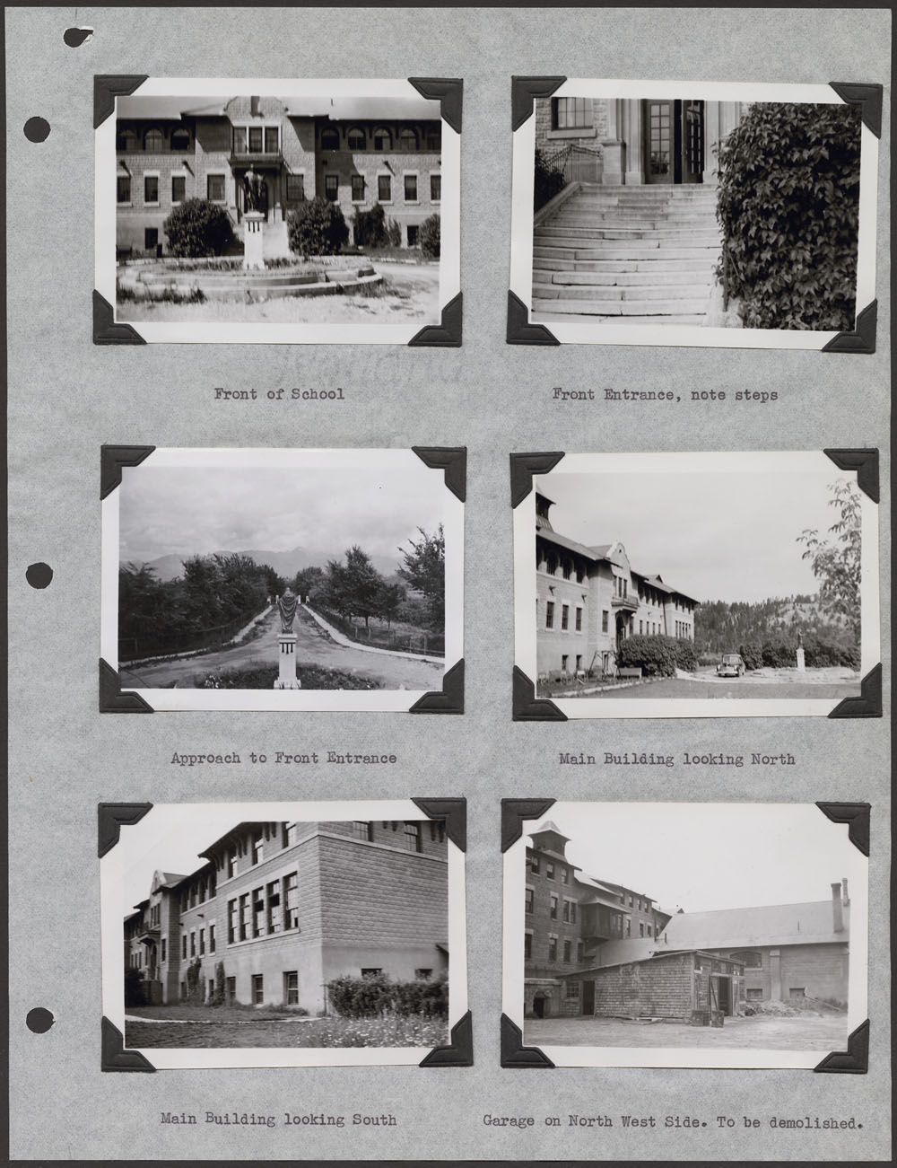 St. Eugene's Indian Residential School – Kootenay, page with six photographs of the school and other views, Cranbrook, September 11, 1948