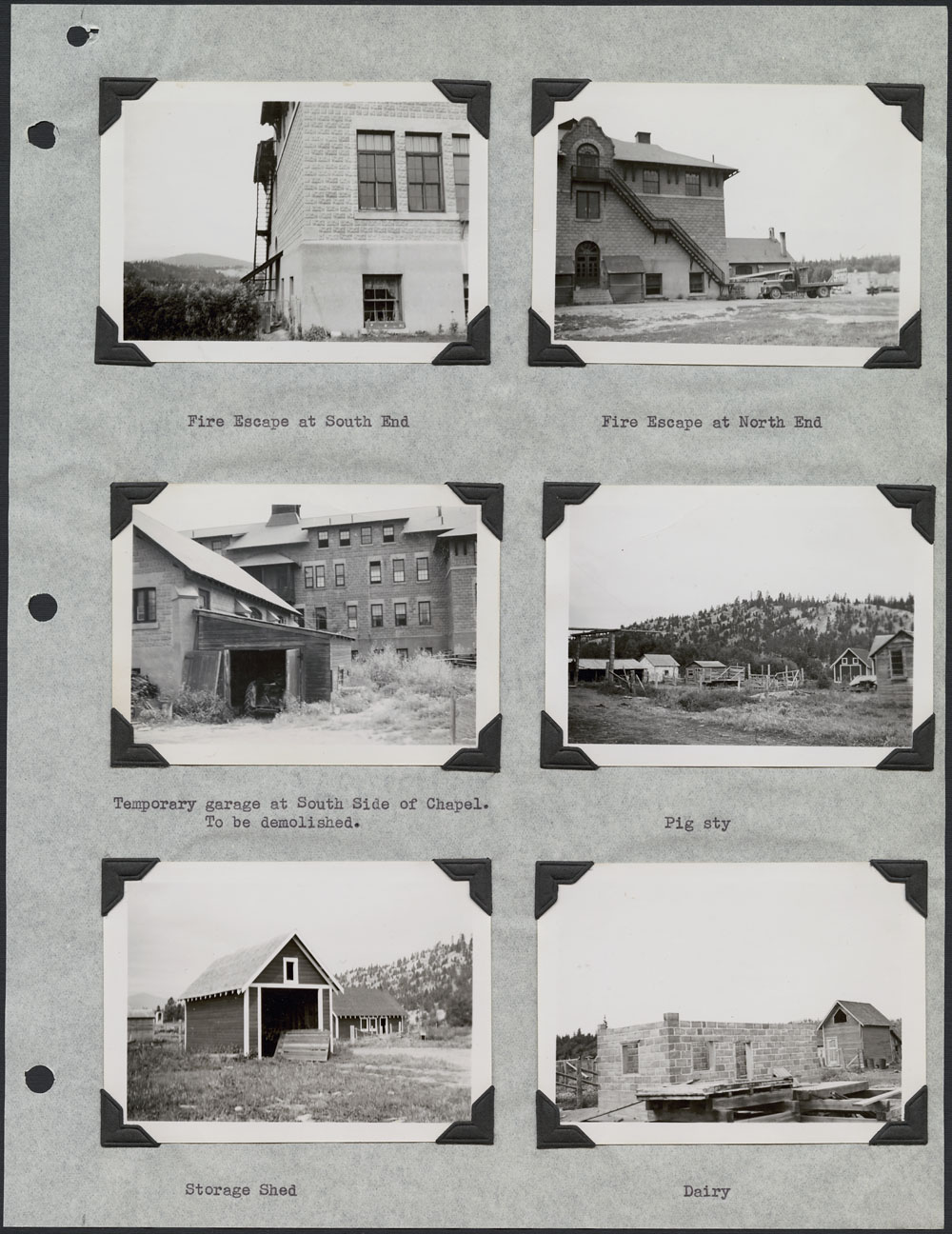 St. Eugene's Indian Residential School – Kootenay, page with six photographs of the school and other buildings, Cranbrook, September 11, 1948