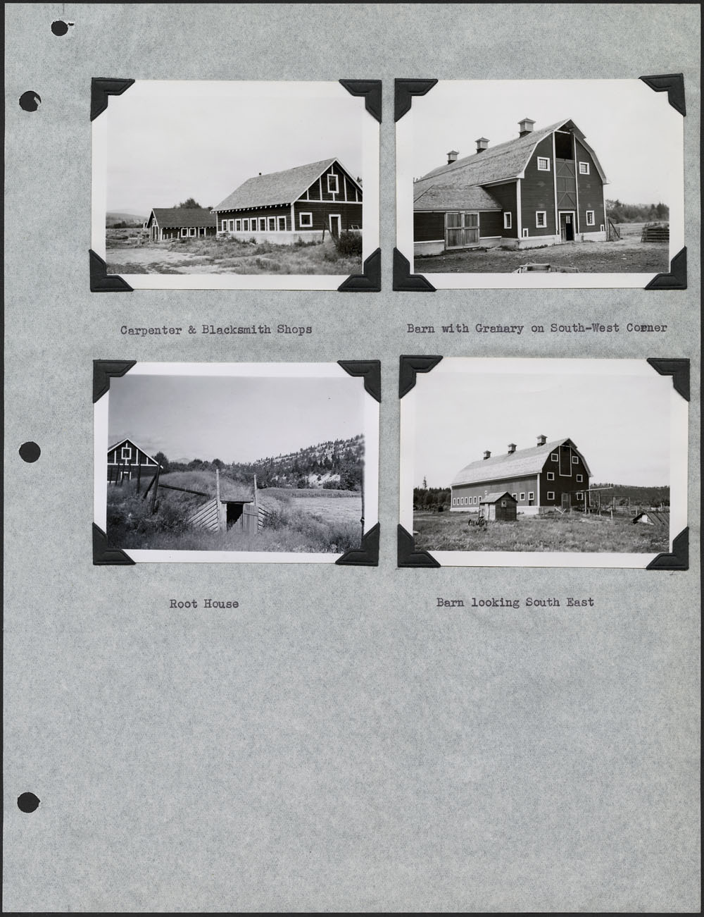 St. Eugene's Indian Residential School – Kootenay, page with four photographs of a barn and other buildings, Cranbrook, September 11, 1948
