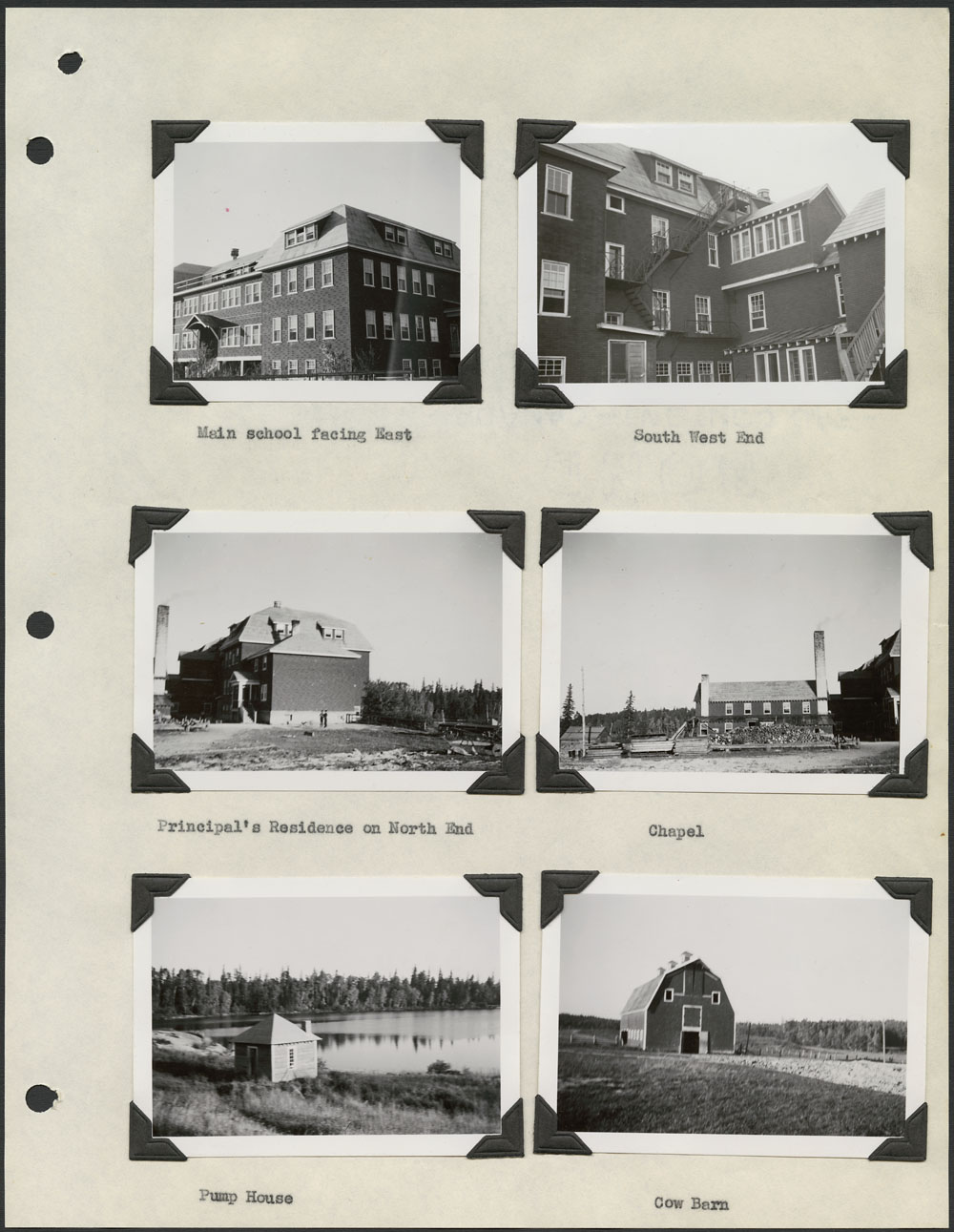 Pelican Lake Indian Residential School, photos of main school, principal's residence, chapel, pumphouse, and cow barn, Sioux Lookout, September 26, 1948