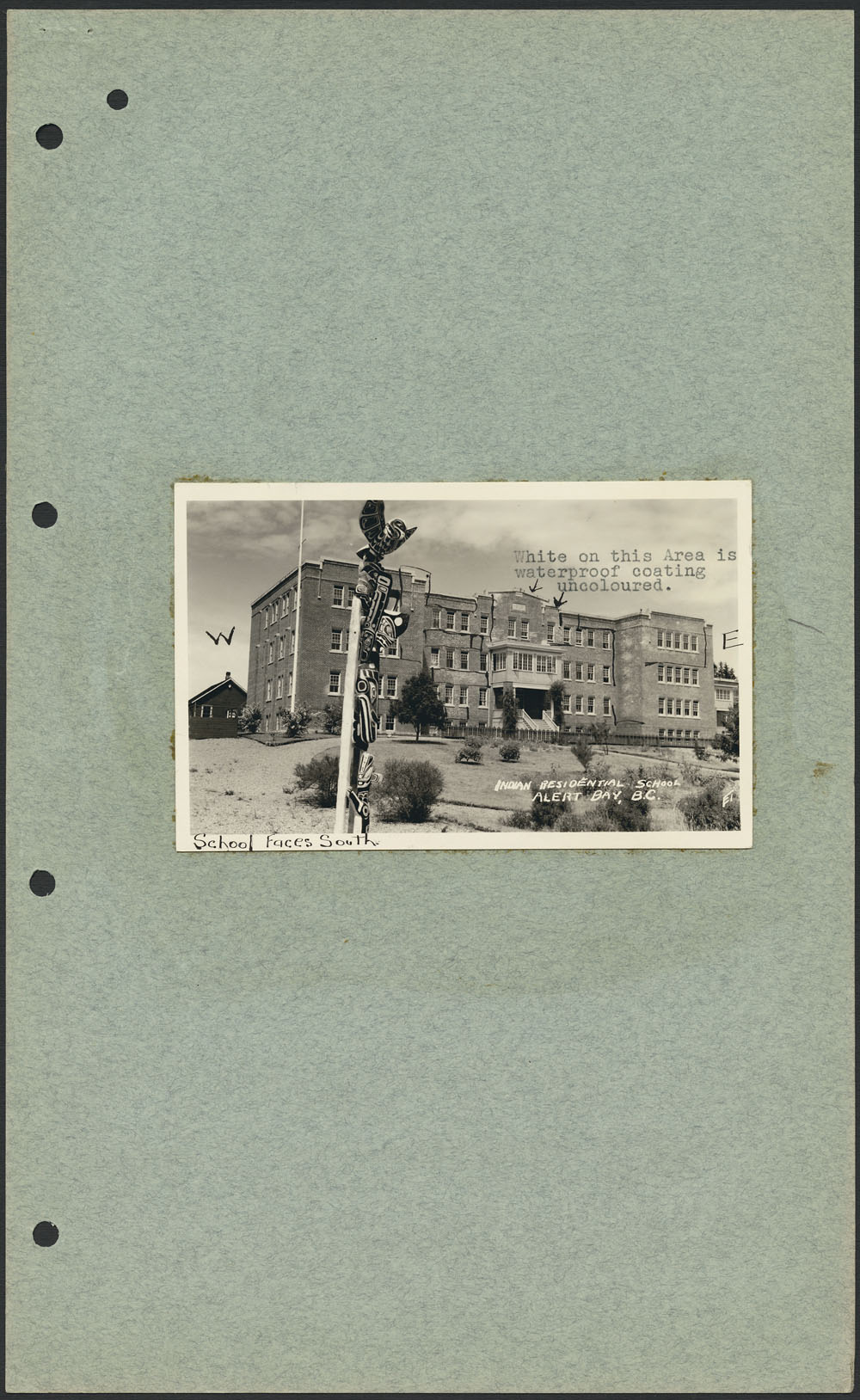 St. Michael's Indian Residential School (Alert Bay), view of facade, 1941
