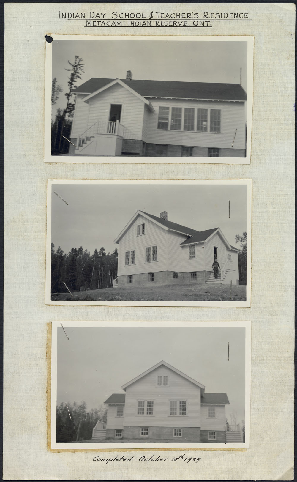 Mattagami Indian Day School and teacher's residence, three exterior views, Gogama, after October 10, 1939