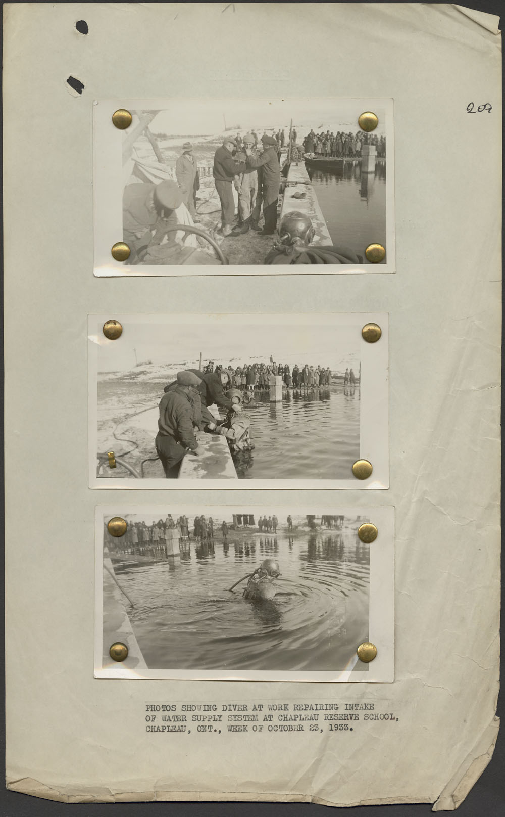 Saint John's Indian Residential School, three photographs of a diver working to repair intake of water supply system, Chapleau, week of October 23, 1933