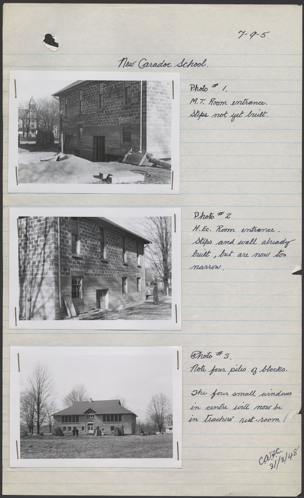 New Caradoc School, three views of the school exterior, Mount Elgin, March 31, 1948