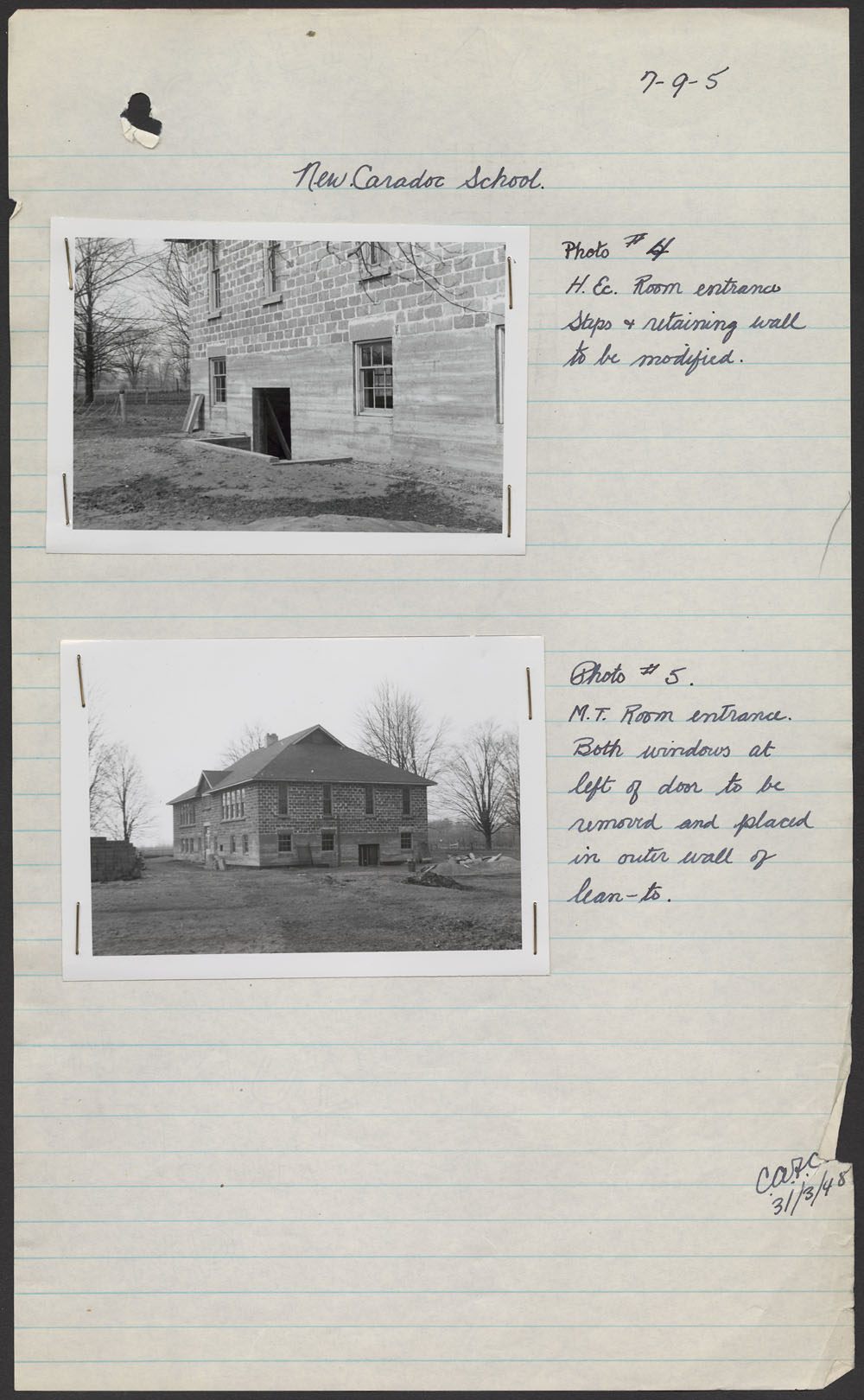 New Caradoc School, two views of the school exterior, Mount Elgin, March 31, 1948