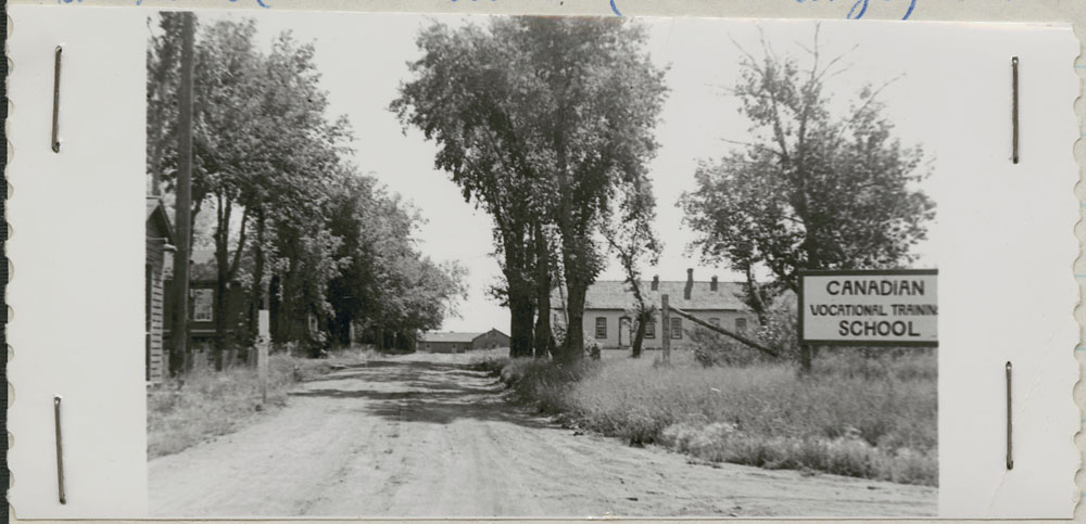 Prince Albert Indian Residential School, driveway entrance, Lac La Ronge, 1948