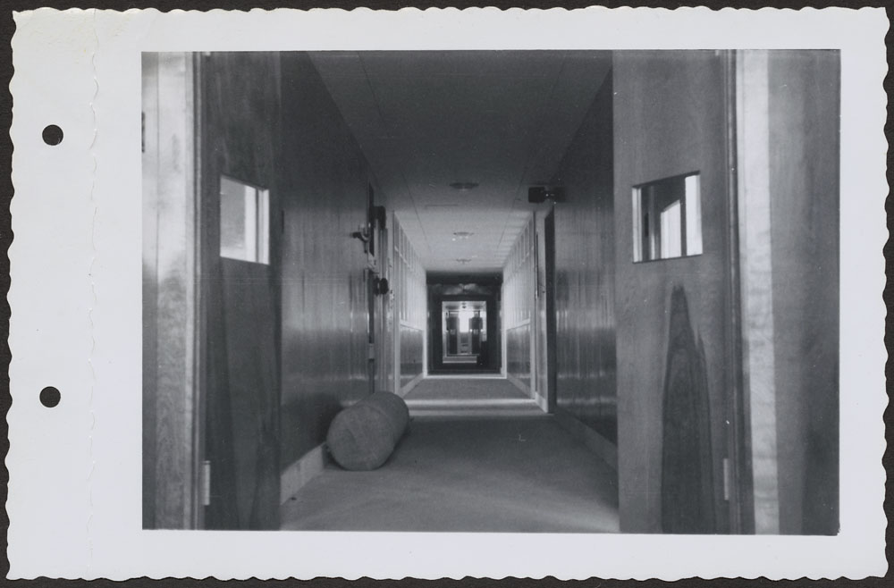 Bishop Horden Hall (Moose Factory Indian Residential School), dormitory corridor, Moose Factory Island, May 24, 1956