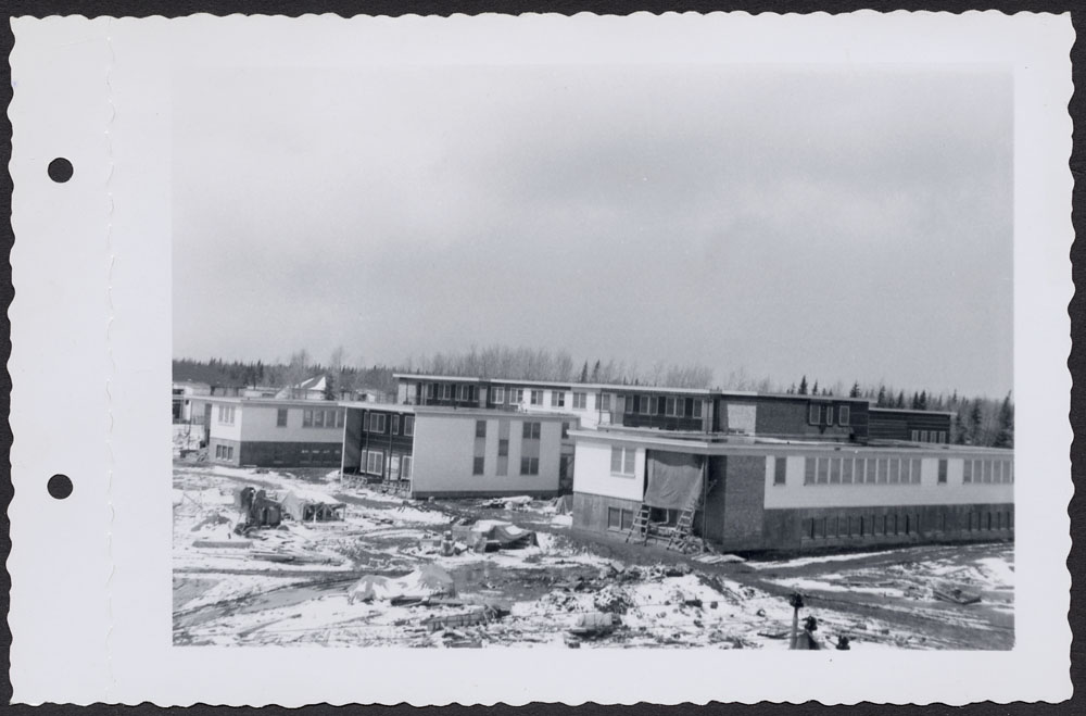Bishop Horden Hall (Moose Factory Indian Residential School), front exterior of dormitory, Moose Factory Island, May 24, 1956