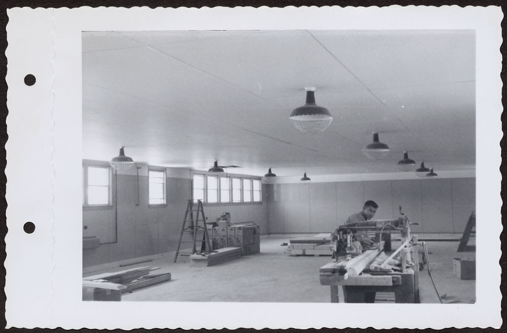 Bishop Horden Hall (Moose Factory Indian Residential School), recreation room in dormitory, Moose Factory Island, May 24, 1956