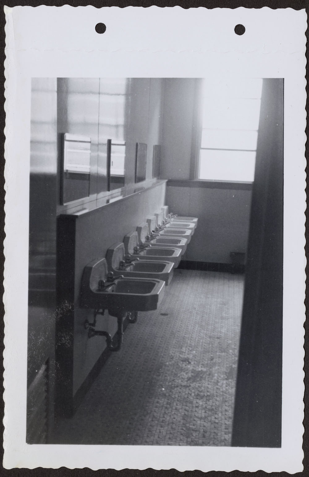 Bishop Horden Hall (Moose Factory Indian Residential School), dormitory washroom, Moose Factory Island, May 24, 1956