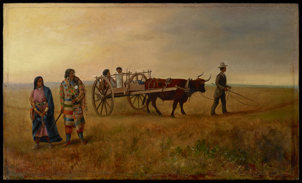 Colour oil on commercial board of a man and a woman dressed in blankets walking away from another man in a suit, who is leading an ox pulling a two-wheeled cart with a woman and a child on board.