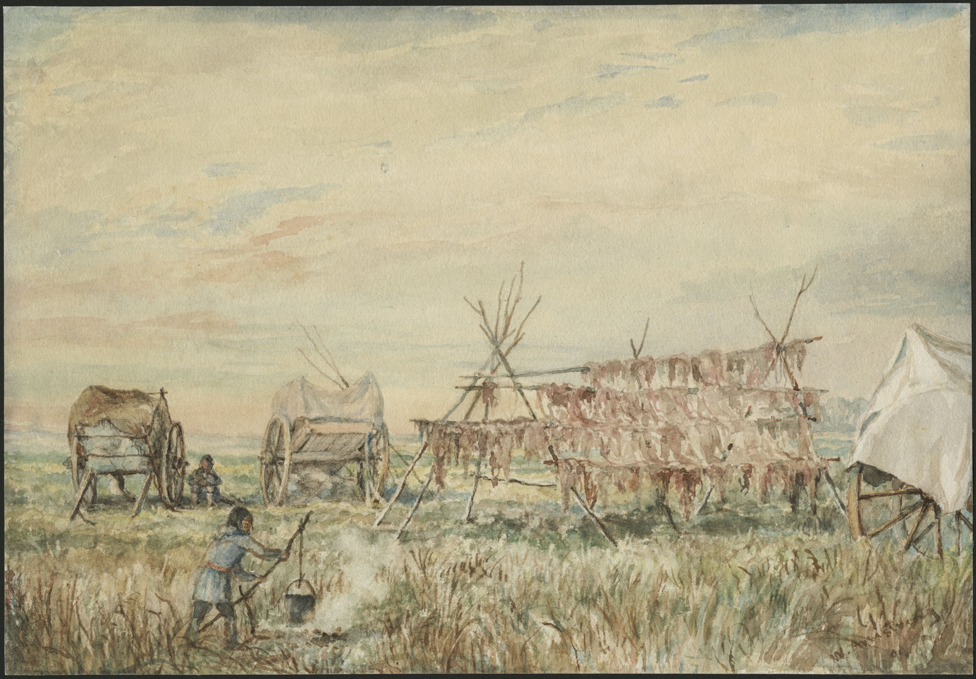 Watercolour with scraping out over pencil depicting a prairie landscape with wooden structures holding strips of drying buffalo meat. A woman holding a bucket attached to a large stick over a fire is in the foreground, while another figure sitting between two Red River carts is in the background on the left.