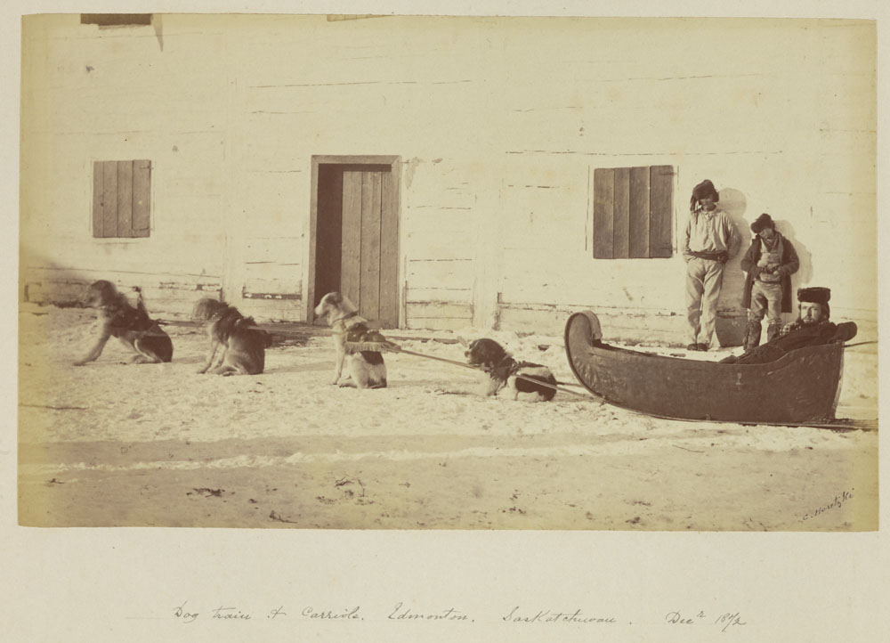 Black and white photograph of a man seated in a cariole hitched to four dogs while two other men stand in the background in front of a wooden building.
