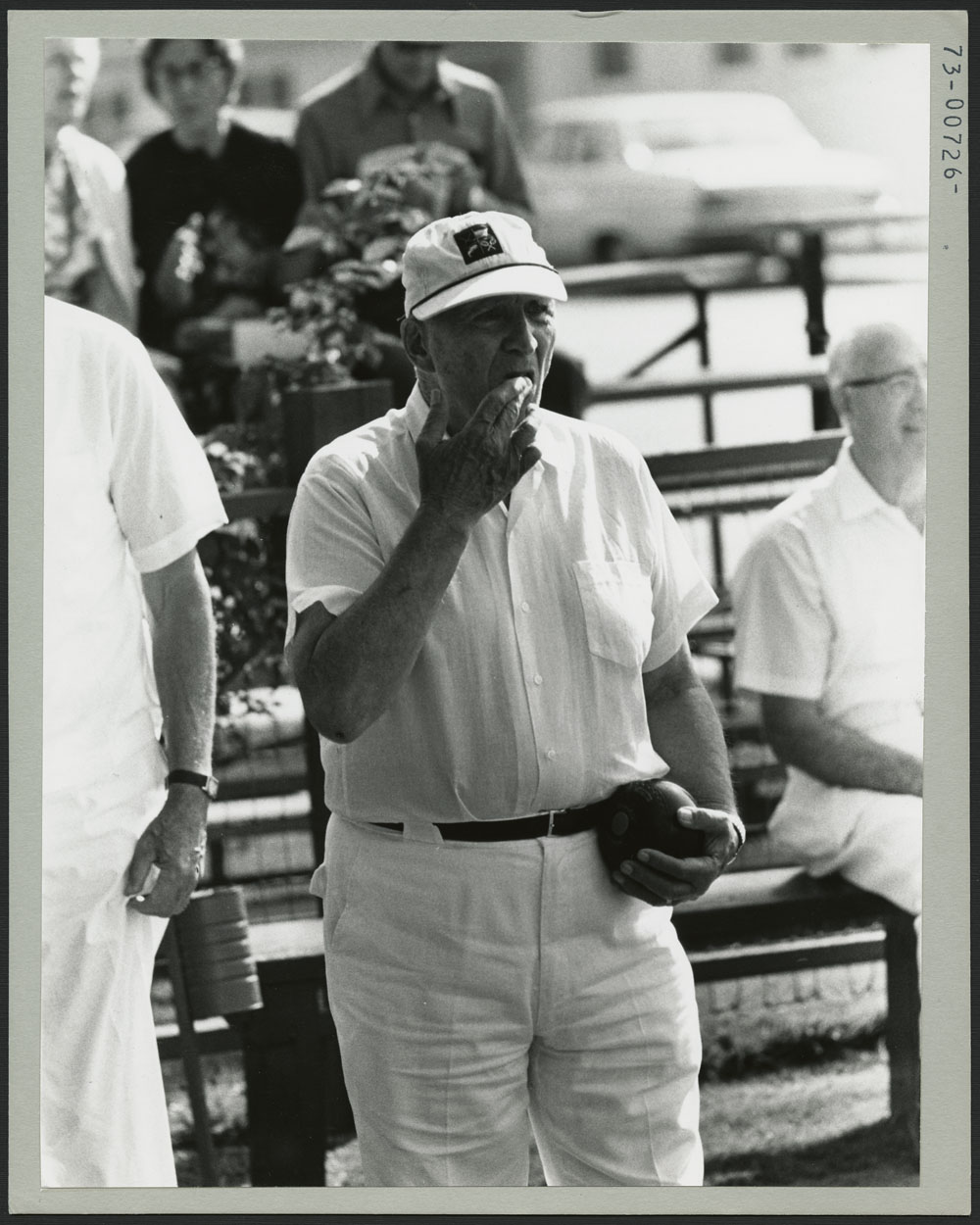 Roy Morrison of Alberta, lawn bowling during the Second Canada Summer Games at New Westminster-Burnaby