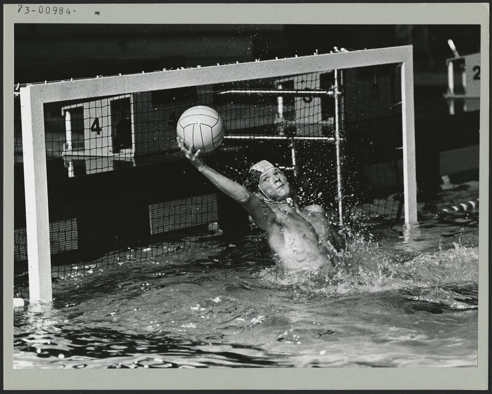 Ontario water polo goalie Dave McClintock made several saves like this as Ontario went on to swamp Nova Scotia 24-1 during the Second Canada Summer Games at New Westminster-Burnaby