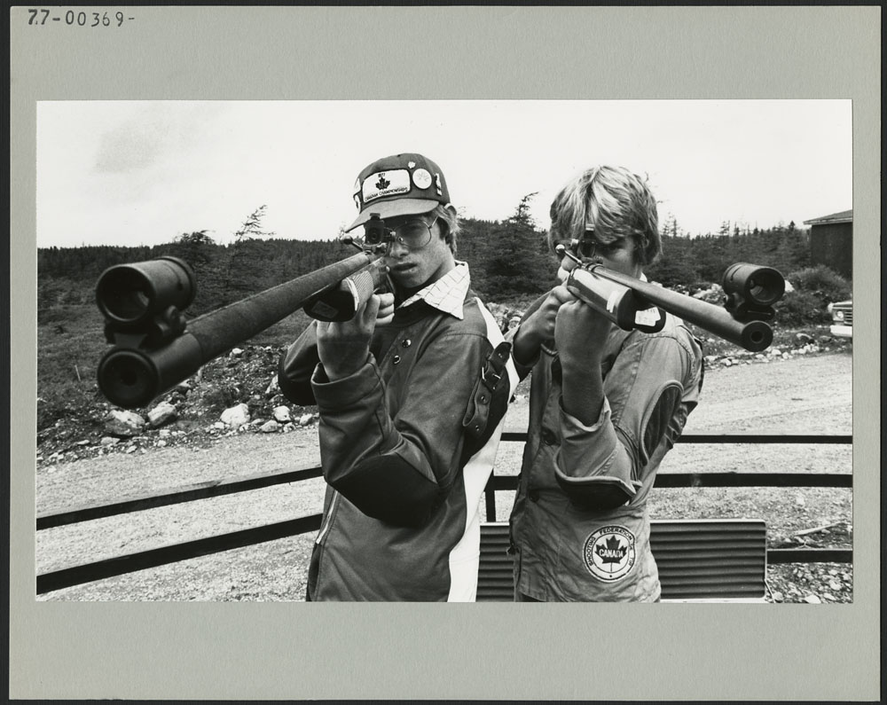 Ontario won the gold medal in shooting due, in a large part, to the accuracy of Mark Lewis (left) and Bruce Robb at the Third Canada Summer Games, St. John's, Newfoundland