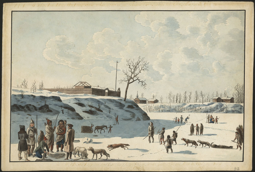 Watercolour on paper showing a fort on the bank of a frozen river with men and dogs ice-fishing in the foreground and  middle ground of the composition.