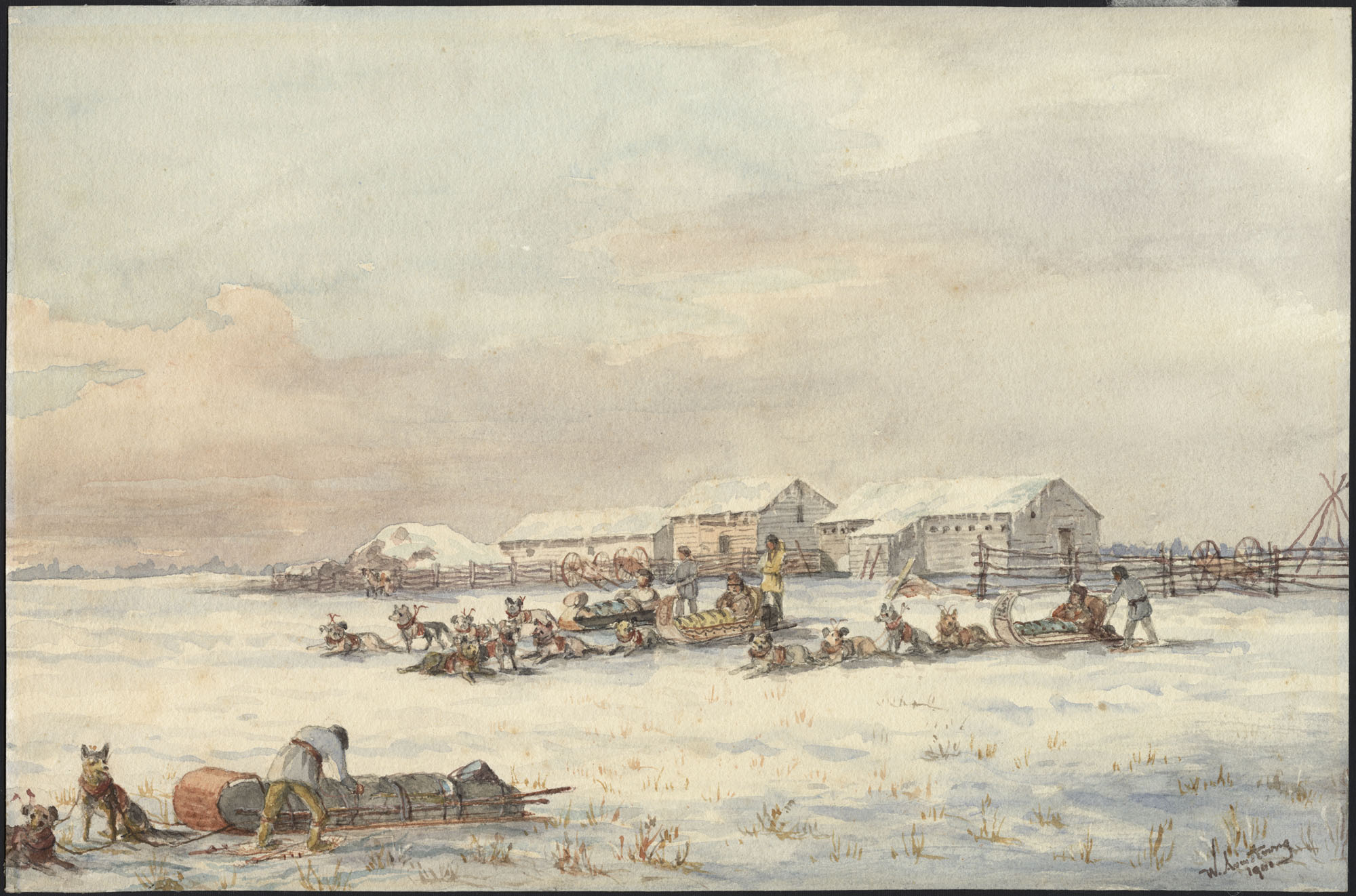 Watercolour over pencil on wove paper of a sled in the foreground and, in the centre of the composition, another three sleds, each  led by four dogs and carrying two men, with three buildings surrounded by a fence and two-wheeled carts in the background.