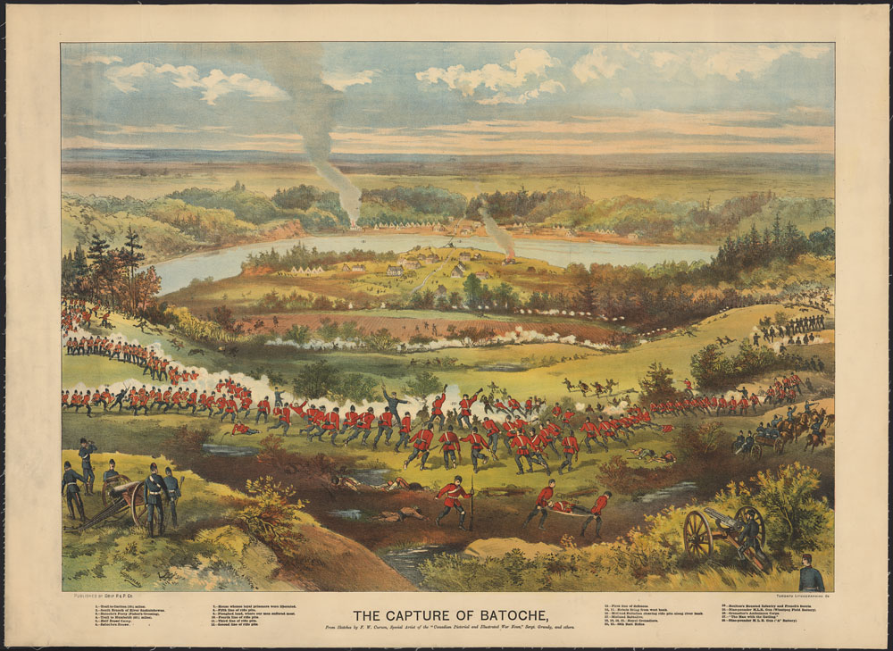 A coloured print of a landscape with a river, trees, and fields filled with groups of uniformed Canadian militia members running, aiming weapons and cannons, and carrying other injured militia, while Métis men lie in the grass. Houses seen in the distance along the river are on fire and emitting large columns of smoke.